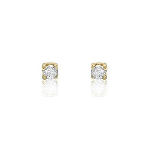Par de Brincos Solitário com Diamantes totalizando 30 Pts¸ em Ouro Amarelo