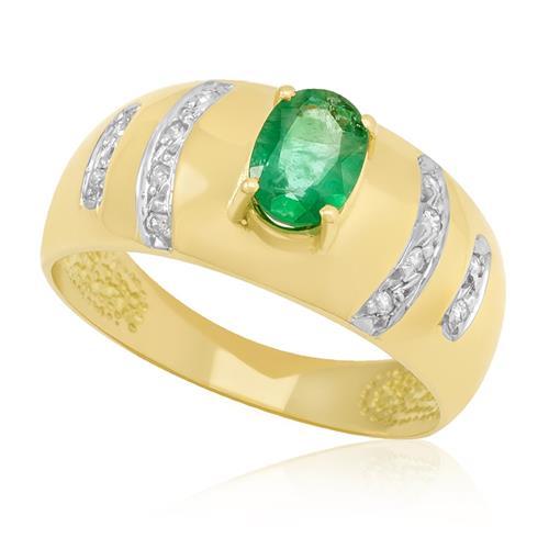 Anel com 12 Diamantes e Esmeralda¸ em Ouro Amarelo com Detalhe em Ródio
