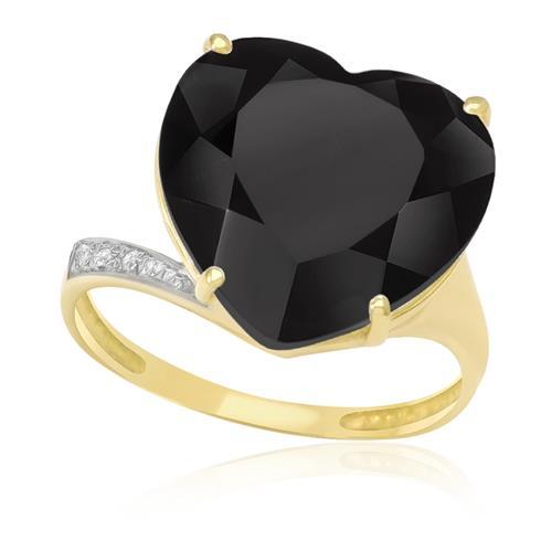 Anel Coração com Ônix e 3 Diamantes, em Ouro Amarelo