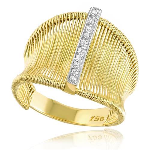 Anel Aramado com 10 Diamantes, em Ouro Amarelo