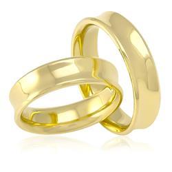 Par de Alianças  Modelo Concavo em Ouro Amarelo