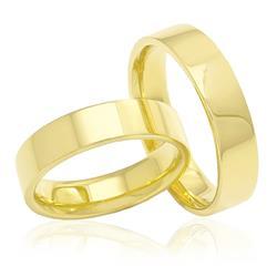 Par de Alianças Modelo Tradicional Lisa em ouro amarelo