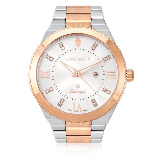 db616a6c46b Relógio Feminino Constantim Diamond Mixed Rose Silver 6651-MRS Aço Misto