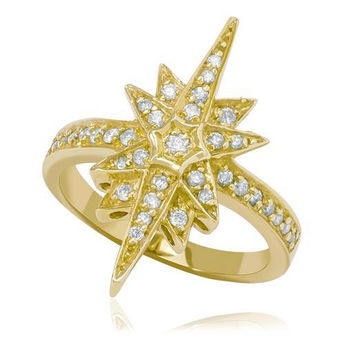 Anel com 35 Diamantes totalizando 40 pts.¸ em Ouro Amarelo