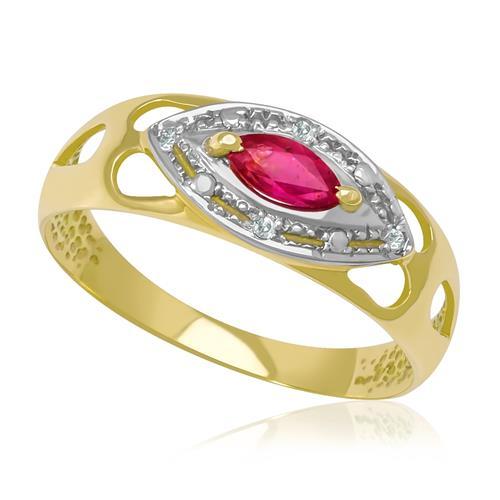 Anel com 4 Diamantes e Rubi Central¸ em Ouro Amarelo com Detalhe em Ródio