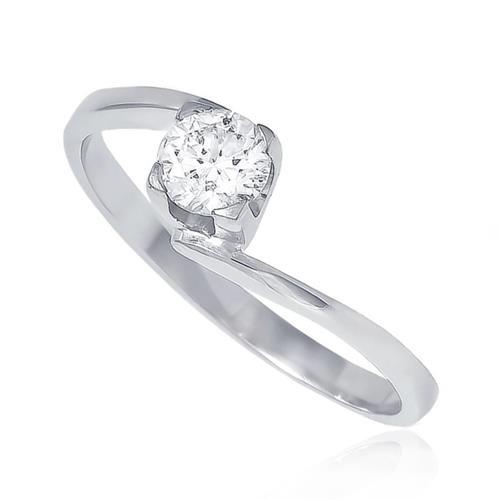 Anel Solitário com Diamante de 30 Pts, em Ouro Branco
