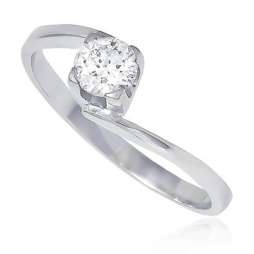 3b0a3815c52b3 Anel Solitário de Ouro Branco com Diamante de 30 Pts