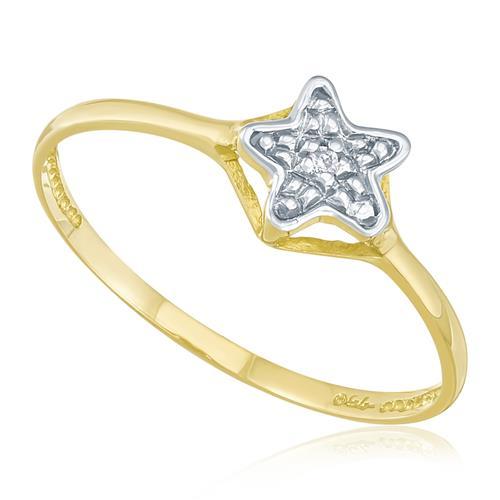 Anel Estrela com 1 Diamante¸ em Ouro Amarelo com Detalhe em Ródio