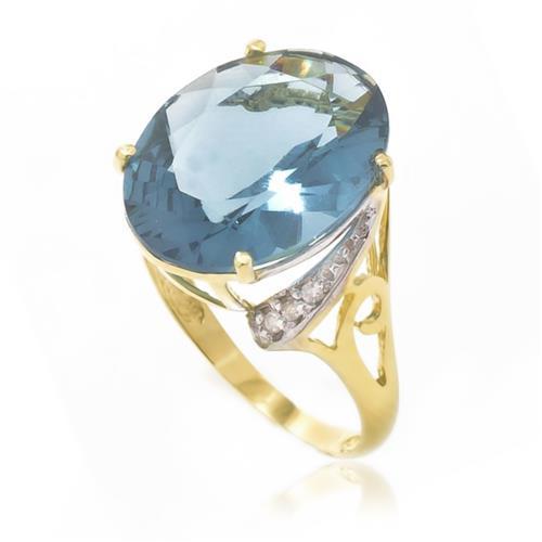 Anel com Topázio Azul e 6 Diamantes, em Ouro Amarelo