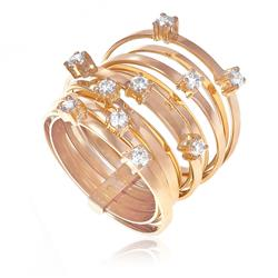 Anel Multiaros com 10 Diamantes totalizando 50 pts.¸ em Ouro Rose