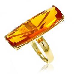 Anel com Citrino de 18 cts em Ouro Amarelo
