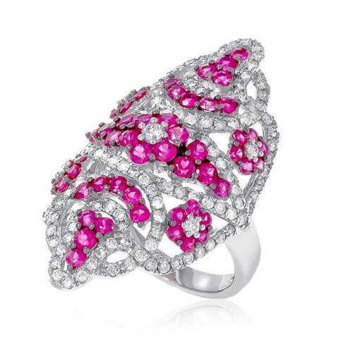 5b7df026117 Anel Navete com Diamantes e Rubis em Ouro branco