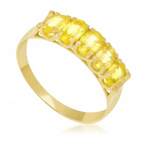 Meia Aliança com 5 Safiras Amarelas¸ em Ouro Amarelo