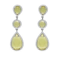 Par de Brincos Gotas de Green Gold com Diamantes em ouro branco