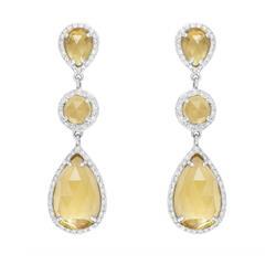 Par de Brincos Gotas de Citrino com Diamantes em ouro branco