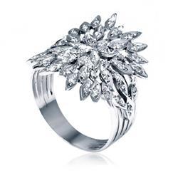 Anel Trabalhado com 46 Diamantes, em Ouro Branco