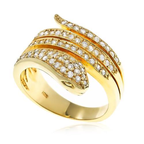 Anel Serpente de Diamantes e ouro amarelo
