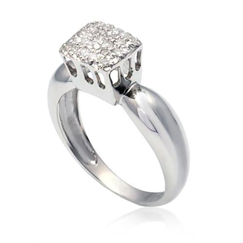 Anel Chuveiro com 23 Diamantes, em Ouro Branco