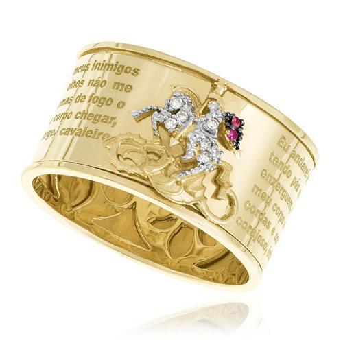 Anel São Jorge com Rubis e Diamantes, em Ouro Amarelo (Aro 23 - Não Alterável)