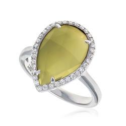 Anel Gota de Citrino e Diamantes em ouro branco