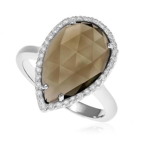Anel Gota de Quartzo Fumê e Diamantes em Ouro Branco