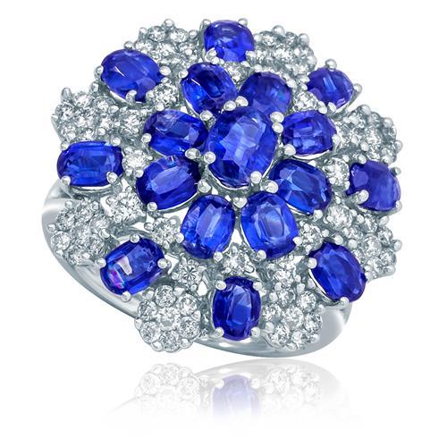 Anel com Safiras e Diamantes em Ouro Branco