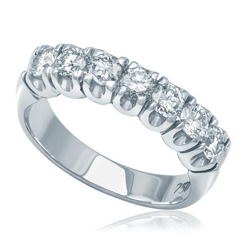 445a70d5d2355 Meia Aliança de ouro branco com 1 Ct de Diamantes em Ouro Branco