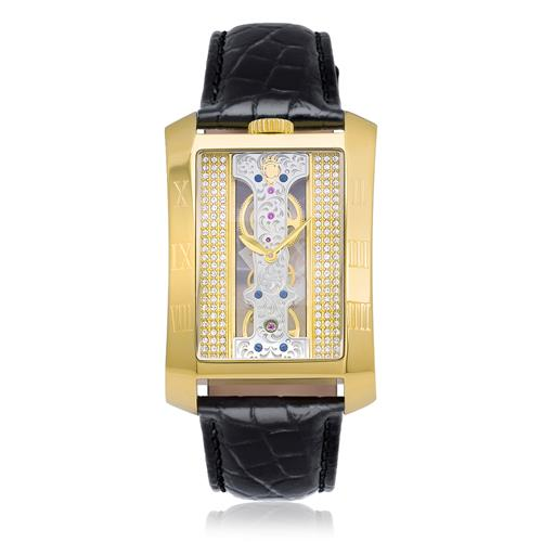 8d8bce93f23 Relógio Constantim London Tower Black Gold Analógico ZW30152H Couro Preto