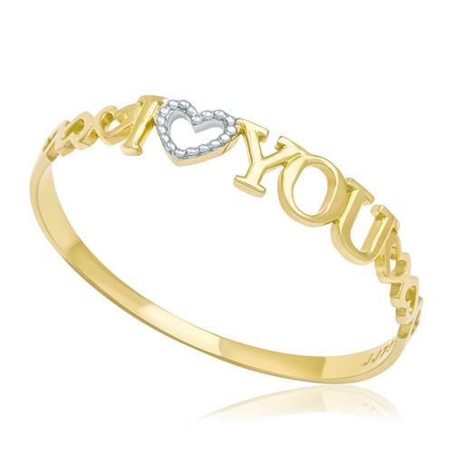 Anel I Love You, em Ouro Amarelo