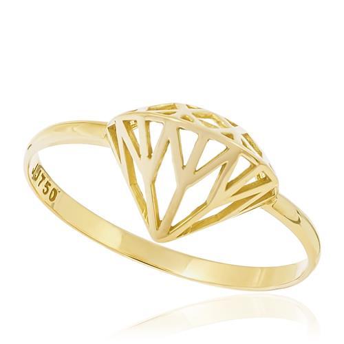 Anel modelo Diamante, em Ouro Amarelo