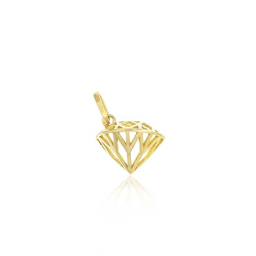 Pingente Modelo Diamante, em Ouro Amarelo