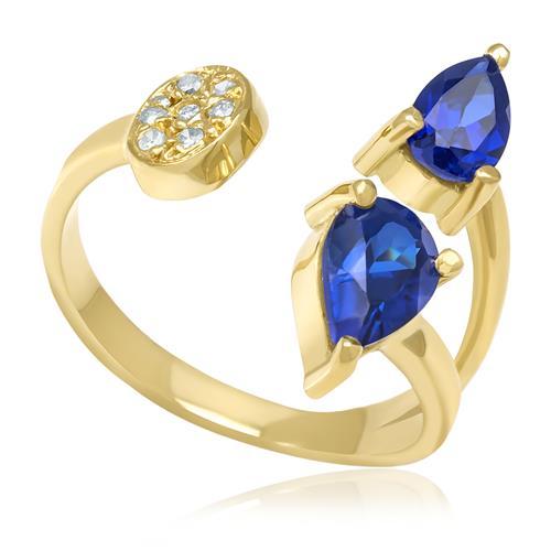 Anel com Aro Aberto trabalhado com Safiras e Diamantes, em Ouro Amarelo