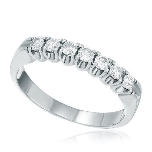 Meia Aliança com 7 Diamantes Totalizando 70 Pts., em Ouro Branco