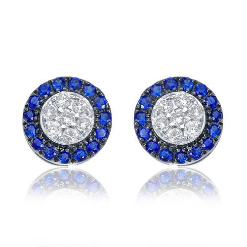 Par de Brincos com Diamantes totalizando 60 pts. e Safiras totalizando 50 pts., em Ouro Branco