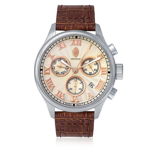 8c9e87f9262 Relógio Masculino Constantim Classic Essential IV Analógico ZW20001Y Couro  Marrom