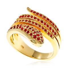 Anel Serpente de Rubis e ouro amarelo