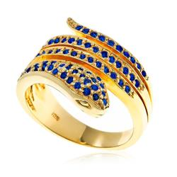 Anel Serpente de Safiras e ouro amarelo