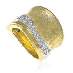 Anel Largo Estilo Onda com  52 Diamantes em Ouro Amarelo