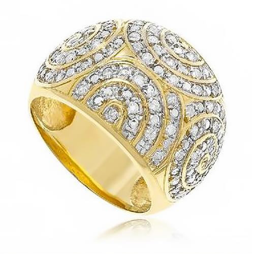 Anel Colméia de Diamantes em ouro amarelo