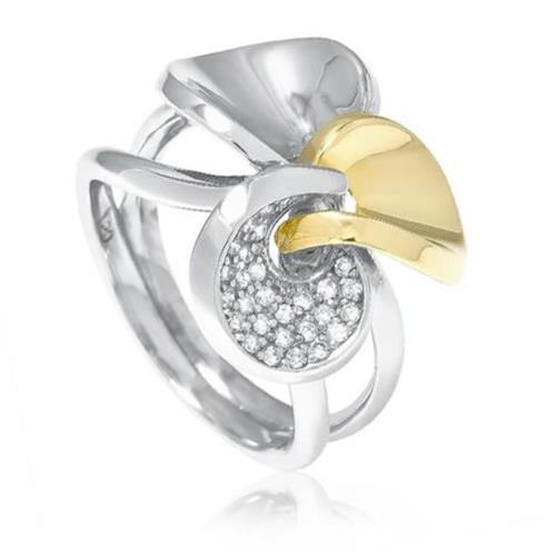 da821093a28 Anel de ouro com Três elos em Ouro Branco e Amarelo com Diamantes