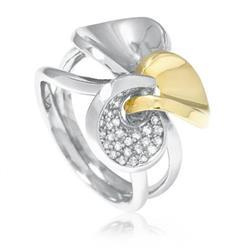 Anel com Três elos em Ouro Branco e Amarelo com Diamantes