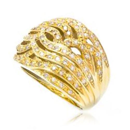 Anel trabalhado com 94 Diamantes em Ouro Amarelo