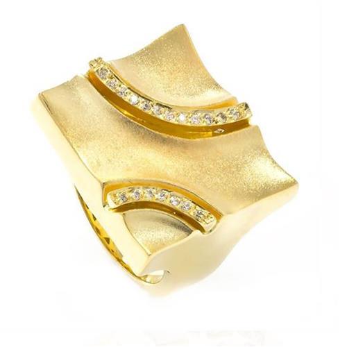 Anel Estilizado com 19 Diamantes, em Ouro Amarelo