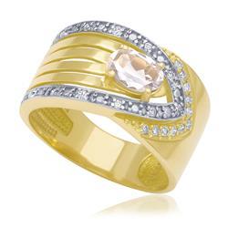 Anel com Morganita Oval e 22 Diamantes, em Ouro Amarelo