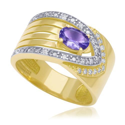 Anel com Tanzanita e 22 Diamantes em Ouro Amarelo