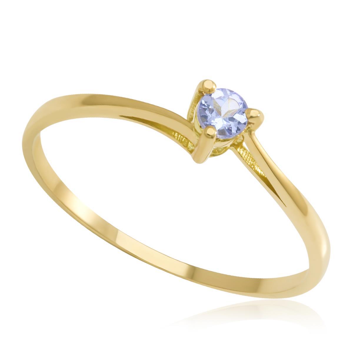 Anel de Ouro modelo Solitário com Tanzanita   Joias Vip d2901cfdc2