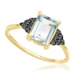 Anel com Água Marinha Retangular e 12 Diamantes Negros, em Ouro Amarelo