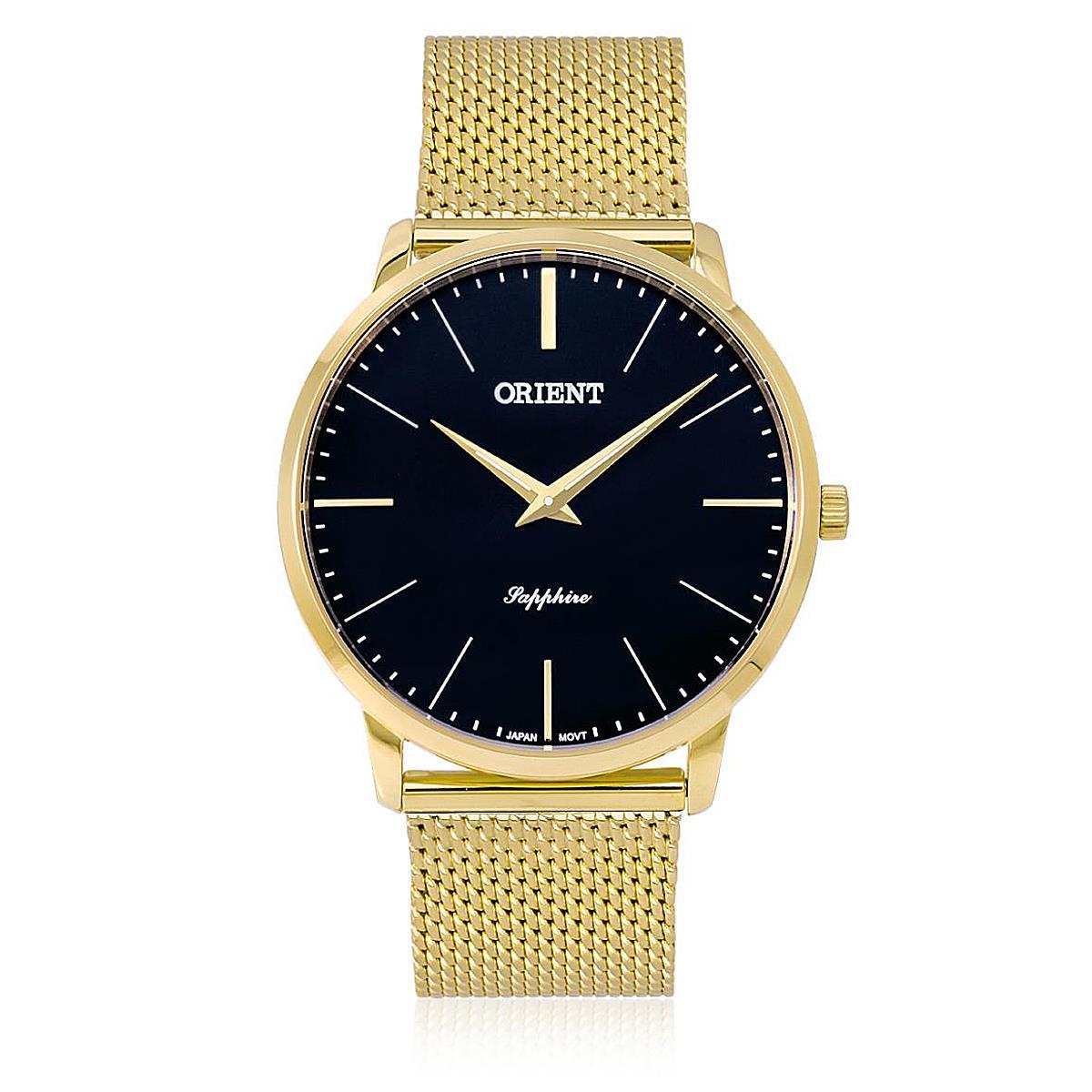 1b9b78140c4e5 Relógio Masculino Orient Slim Sapphire Analógico MGSSS005 P1KX dourado  esteira