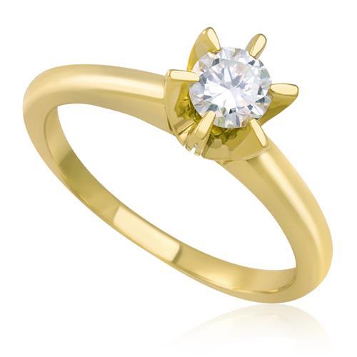 Anel Solitário com Diamante de 46 Pts, em Ouro Amarelo