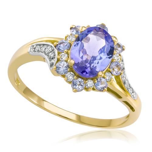 Anel Com Tanzanita Central E Safiras E Diamantes, Em Ouro